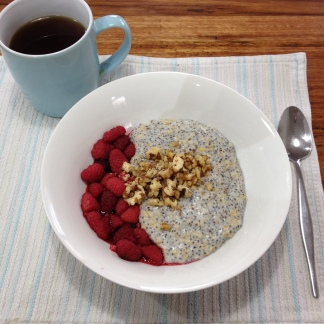 Coconut Chia Porridge with Raspberries and Walnuts